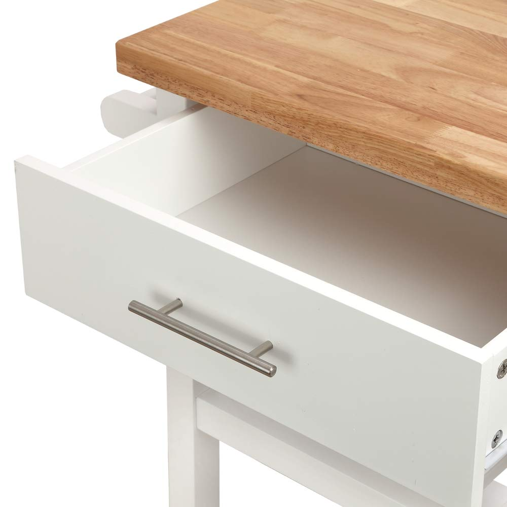 Homegear Open Storage V3 Kitchen Cart with Shelves - Island on Wheels White by Homegear (Image #4)