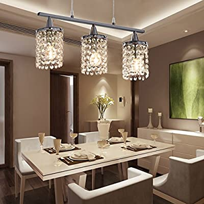 OOFAY LIGHT 40W E12/E14 Contemporary Minimalist Fashionable Crystal Chandelier with 3 lights pendant dining room light in square feature