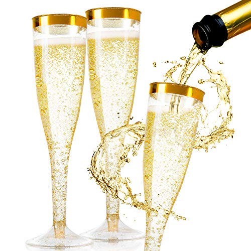 50 Pieces Plastic Champagne Glasses Gold Glitter, 5.5 Oz Plastic Champagne Flutes, Premium Disposable Clear Cups Perfect for Wedding and Party, Toasting Glasses, Gold Rim Champagne Flutes, Wine glass