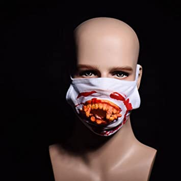 euone halloween scary horror mouth mask face fancy teeth zombies bloody horrific gift b