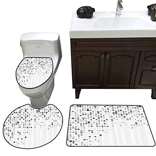 3 Piece Bathroom Rug Set Grey Decor Digital Pattern Composed of Geometric Elements Radiant Rectangle Parallel Picture 3 Piece Shower Mat Set Ash White