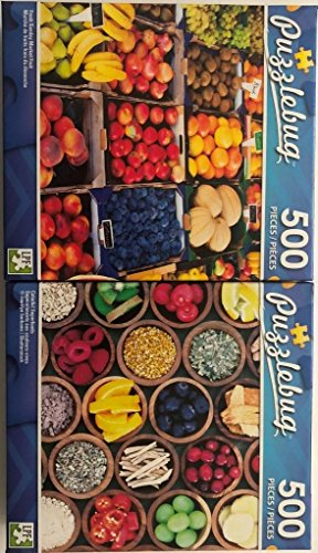 Pack of 2 Puzzlebug 500 Pieces Jigsaw Puzzles: Fresh Sunday Market Fruit ~ Colorful Superfoods