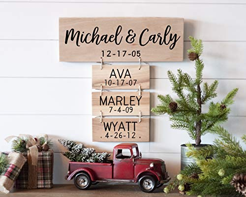 Family Names Wood Sign | Anniversary Gifts | Wedding Gifts | Personalized for you | Family Established Gift for Women (Signs Established Home)