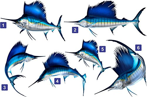"""Sail Fish Beautiful Decal for Your Boat, Vehicle, Etc. Many Sizes and Styles Available 12"""" to 40"""""""