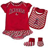 Anaheim Angels Baby Girl Striped Skirted Bodysuit, Bib and Bootie Set, 6-9 Months
