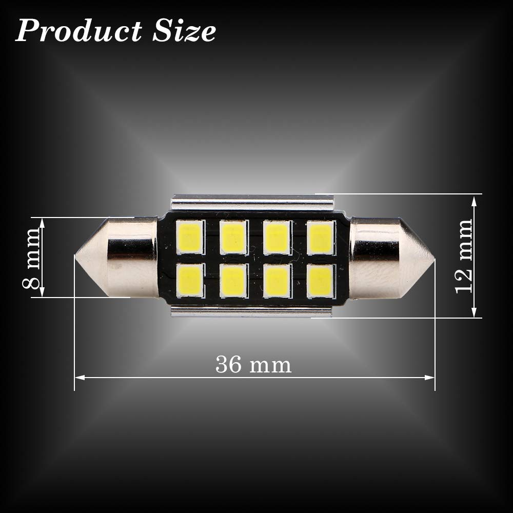 DC 12V Super Bright White Festoon Canbus with 12-2835-SMD Chips 6411 6413 6418 C5W LED Bulbs for Car Interior Dome Map Door Courtesy License Plate Lights Grandview 10pcs 41MM C5W LED Bulbs