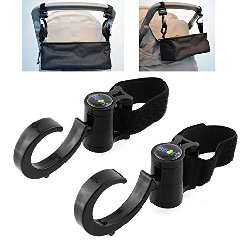 2Pcs Multi Function Baby Prams Strollers Pushchair Swivel Strap Clothes Hooks