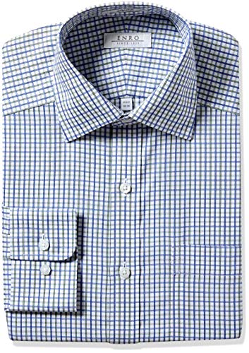 Enro Men's Ashcroft Check Non-Iron Classic Fit Dress Shirt, Blue/Green 150 x 32/33