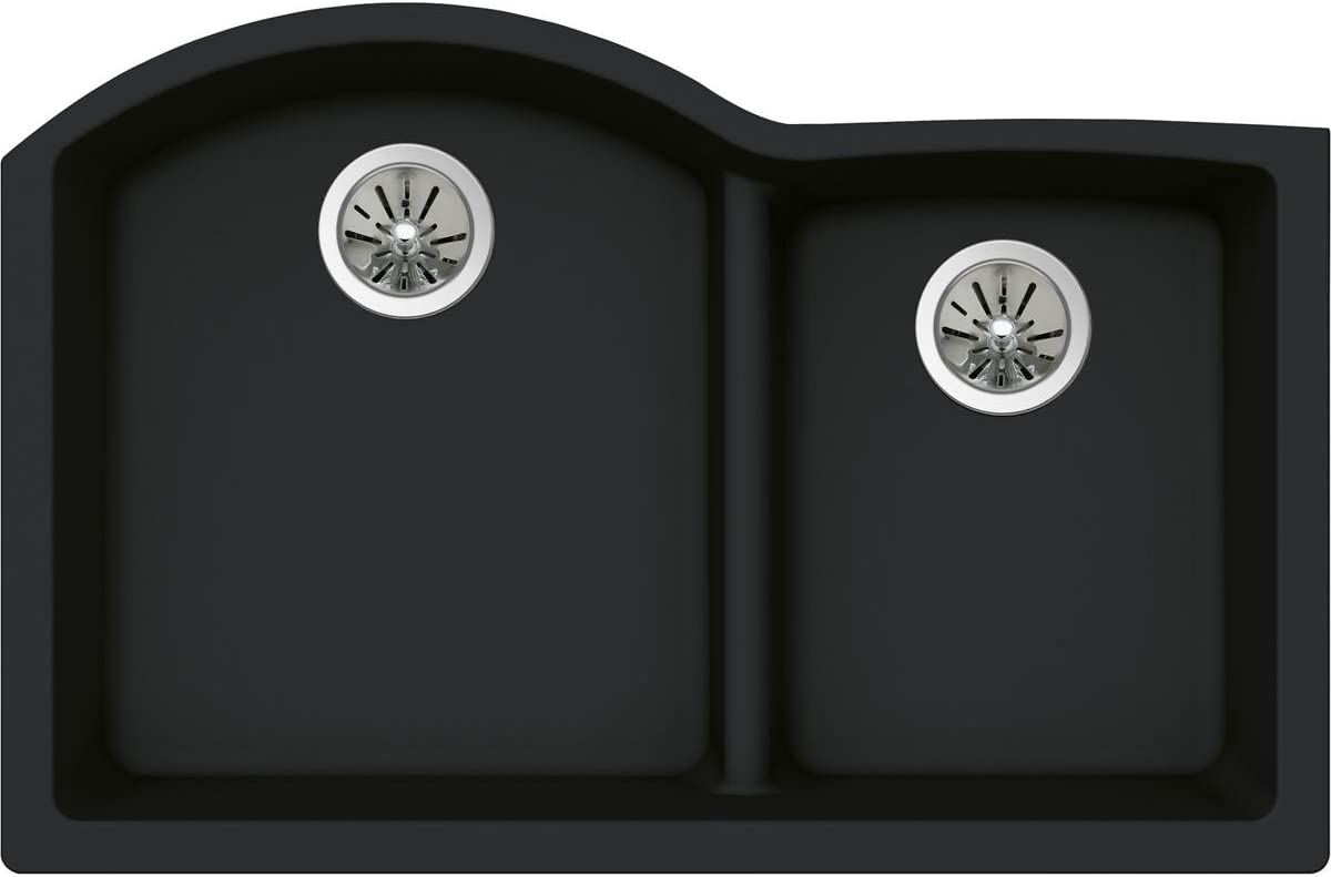 Elkay Quartz Luxe ELXHU3322RCA0 Caviar Offset 60 40 Double Bowl Undermount Sink with Aqua Divide