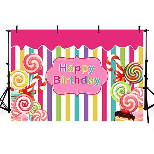 MEHOFOTO Candyland Themed Pink Photo Studio Background Girl Happy Birthday Princess Colorful Stripes Candy Cake Party Decorations Banner Photography Backdrops for Dessert Table 7x5ft -