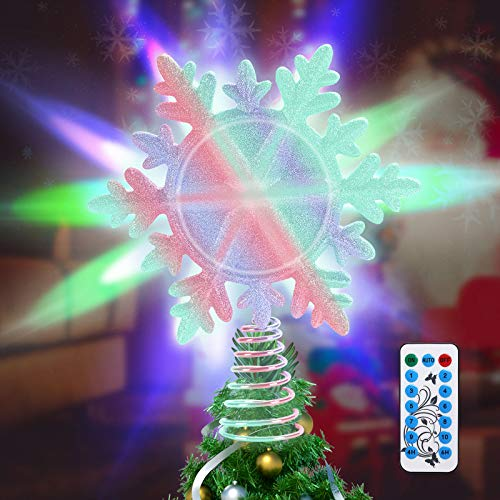LSXD Christmas Tree Topper with Remote Timer,10 Colorful Lighting Modes, 3D Glitter Lighted Sliver Snowflake Tree Topper Star for Christmas Tree Decorations Wall Party Holiday Décor
