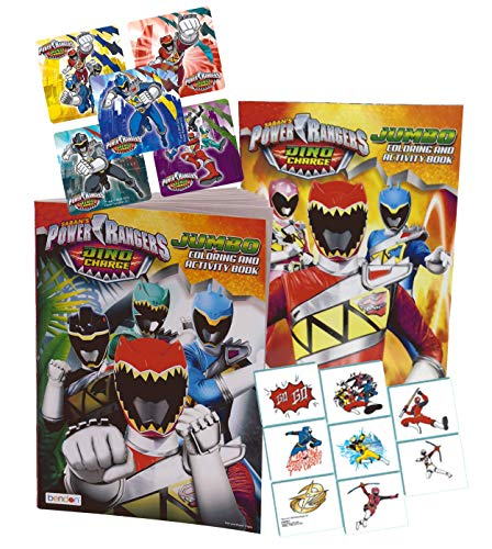 UPD Power Rangers 2pk Kids Jumbo Coloring Books! Plus Power Rangers Stickers & Temporary Tattoos! -