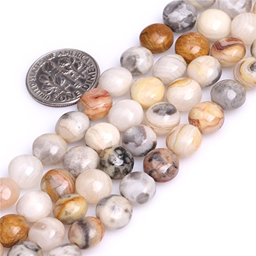 Natural Coin Crazy Agate Gemstone Multicolor DIY Jewelry Making Loose Beads Strand 15
