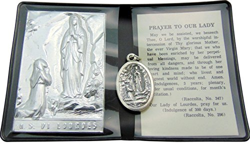 Our Lady of Lourdes Prayer Folder Set with Medal from Italy & Gift Bag (Folder Prayer)