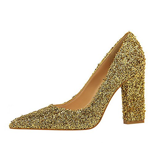 Sottolineato Pattini pompe Tacchi Donne Oro on Amoonyfashion Sequins Solido Toe Pull gxSaFwSH