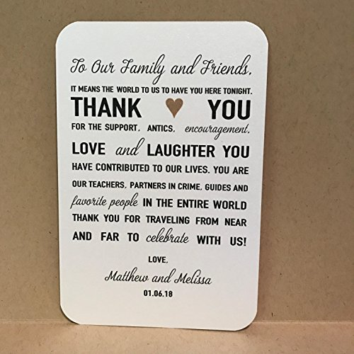 Thank You Wedding Cards Reception Placecards Place Cards Thank You Card Marriage (Set of 25 Cards)