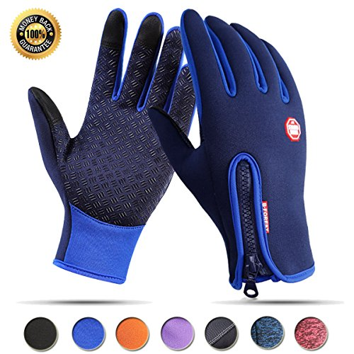 Achiou Cycling Touchscreen Gloves Winter Warm Waterproof Bike Gloves Outdoor Sports Running Climbing Skiing for Men Women (Blue #1, M)