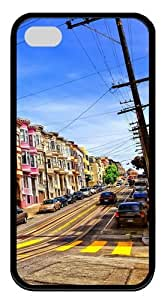 Street In San Francisco TPU Silicone Case Cover for iPhone 4/4S ¡§CBlack