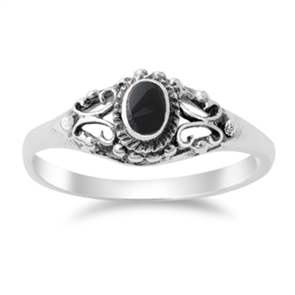 Women's Vintage Design Simulated Black Onyx Ring New .925 Sterling Silver Band Sizes 4-10 Sac Silver