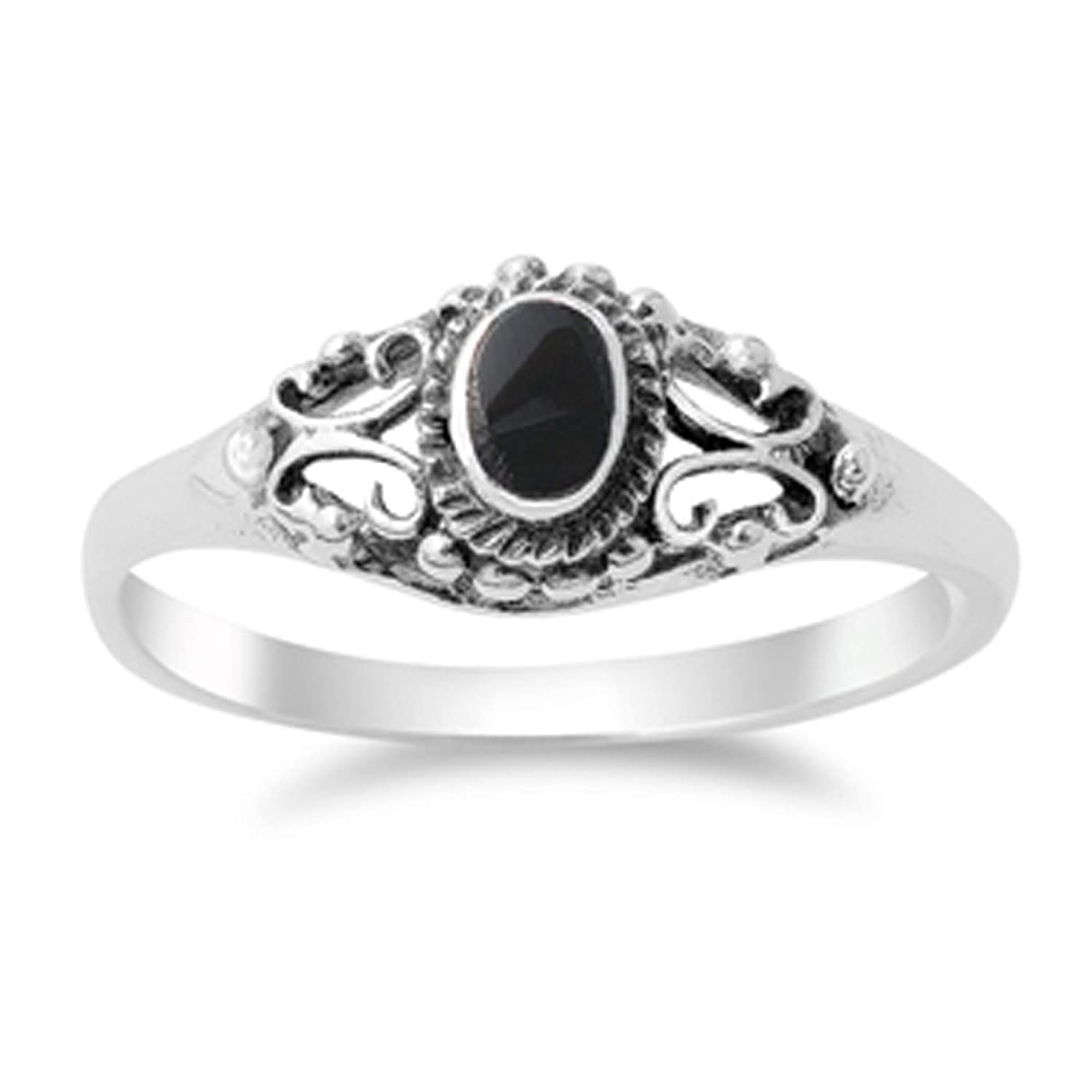 Amazon.com: Women\'s Vintage Design Simulated Black Onyx Ring New ...