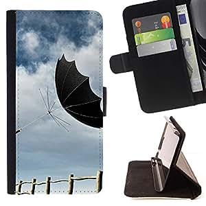 For Samsung Galaxy J1 J100 Case , Diseño Negro Paraguas- la tarjeta de Crédito Slots PU Funda de cuero Monedero caso cubierta de piel