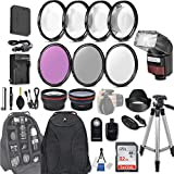 58mm 28 Pc Accessory Kit for Canon EOS Rebel SL1, 100D DSLR with 0.43x Wide Angle Lens, 2.2x Telephoto Lens, LED-Flash, 32GB SD, Filter & Macro Kits, Backpack Case, and More