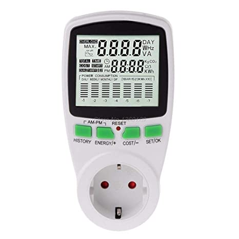 AC Power Meters 220V Digital EU Energy Watt Monitor Electricity Cost Diagram