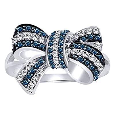 Blue & White Natural Diamond Bow Ring In 10k Solid Gold (0.5 Cttw) supplies