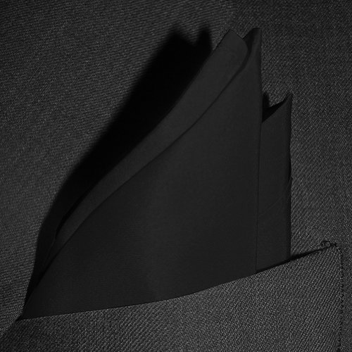 Fine Black Silk Pocket Square by ROYAL SILK. Full-Sized 16''x16''