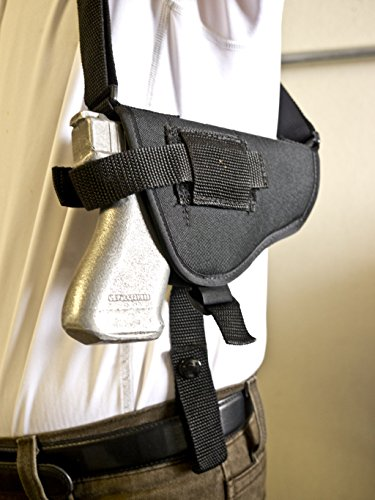 Outbags OB-16SH (LEFT) Nylon Horizontal Shoulder Holster with Double Mag Pouch for Glock 17 / 19 / 22 / 23 / 32 / 33 / 38, Springfield XD9 / XD45, ISSC M22, Beretta PX4, Walther P22 / P99, S&W M&P, H&K P30, FN FNP-9 / FNP-45, Sig Sauer P220 / 225 / 226 / 228 / 229 / 238, Ruger SR9 / SR40, CZ-U CZ-75 / CZ-85, Ruger P89 / 95 / 3312 / 3473