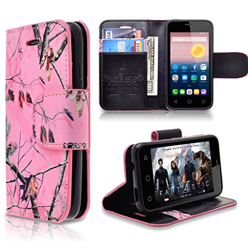 Alcatel Pixi 4 ( 3.5 inch ) Case, INNOVAA Premium Leather Wallet Case with STAND Flip Cover W/ Free Screen Protector & Touch Screen Stylus Pen - Pink (Audio Combination Case Camo)
