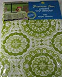 Summer Fun Flannel Back Vinyl Umbrella Tablecloths with Hole and Zipper- Sumburst of Medallions-Celery Green and White--Assorted Sizes (70 Round)