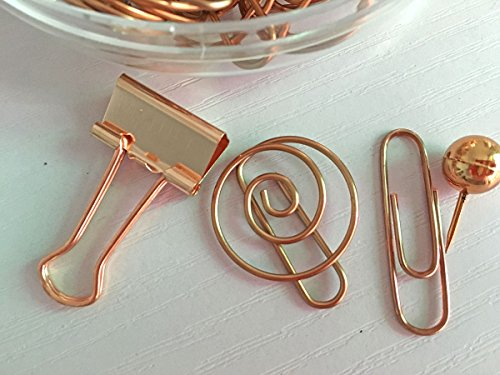 65 PCS Decorative Paper Clips and Set,Multi-Kind Push-Pin Map Tacks Long Tail Clip Paper Clip Pin Clip for School,Home & Office (Rose Gold) Photo #2