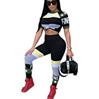 Womens Sexy Outfits American Flag Print Crop Top + High Waist Leggings Tracksuit Set