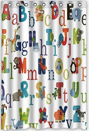 Amazon Popular Design ABC Alphabet Shower Curtain 48w X 72