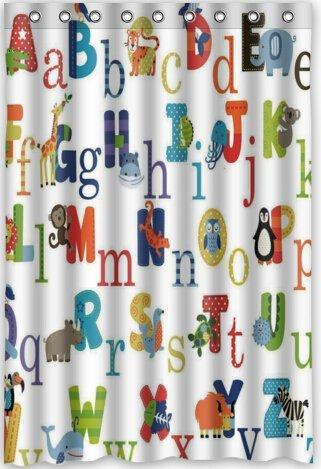 Popular Design ABC Alphabet Shower Curtain 48quotw X 72quoth