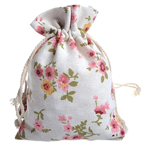 Linen Gift Bag (50Pcs Floral Burlap Drawstring Bags, Linen Gift Bag Packing Storage Linen Jewelry Pouches Sacks for Christmas Wedding Party Shower Birthday, 5.3 x 4.0 Inch)