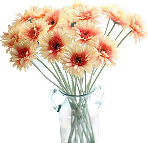 Lemax Fake Gerbera Daisy Flowers Bouquets, 10 Pieces 21.6