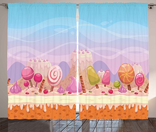 Ambesonne Sweet Decor Curtains, Yummy Cake Mountains Ice Cream Trees Lollipop Cute Fantasy Kids Girls Image, Living Room Bedroom Window Drapes 2 Panel Set, 108W X 63L inches, Blue Lilac