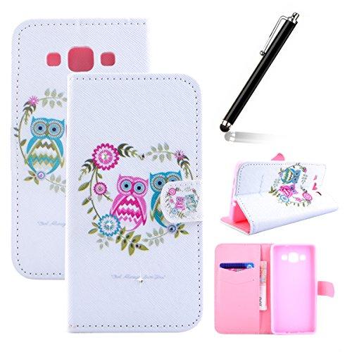 Funda para Galaxy Note 5, Flip funda de cuero PU para Galaxy Note 5, Galaxy Note 5 Leather Wallet Case Cover Skin Shell Carcasa Funda, Ukayfe Cubierta de la caja Funda protectora de cuero caso del sop búho