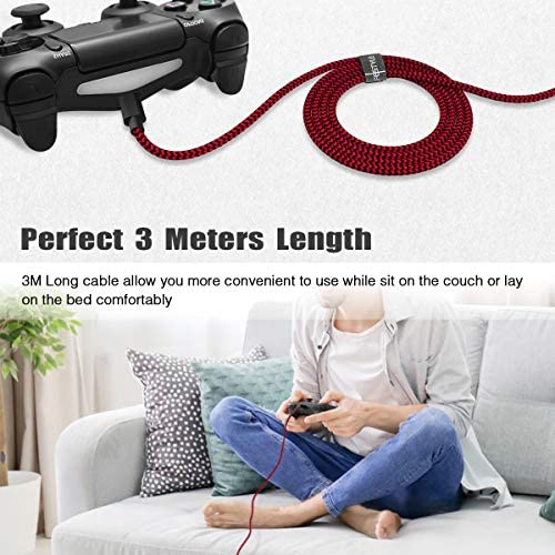 PS4 Controller Charger Charging Cable 10ft 2 Pack Nylon Braided Extra Long Micro USB 2.0 High Speed Data Sync Cord Compatible for Playstaion 4, PS4 Slim/Pro, Xbox One S/X Controller, Android Phones