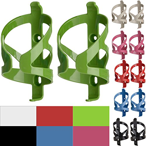 50 Strong Bike Water Bottle Holder 2 Pack – Made in USA – Easy to Install - Durable Bicycle Cage - Vivid - Lime Green Bottle