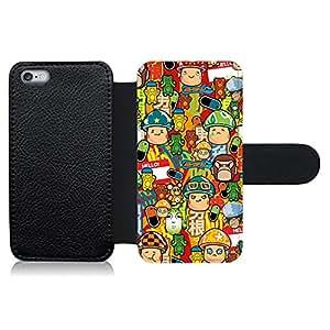 Funda carcasa de cuero para Apple iPhone 6-6S Plus diseño sticker bomb, bomba de pegatinas modelo 3