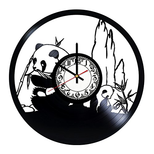 Girls Art Boutique Panda Nature Africa Animals Handmade Vinyl Record Wall Clock - Get unique room wall decor - Gift ideas for his and her - Modern Unique Home Art Design ...