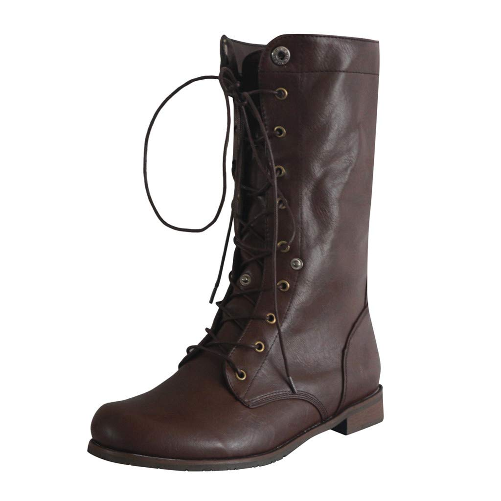 Women's Ankle Lace Up Military Combat Booties Retro Low Heel Height Boots (US:9.5-10.0, Brown)