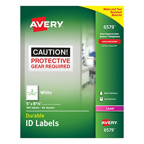 Avery Durable White Cover Up ID Labels for Laser Printers, 5