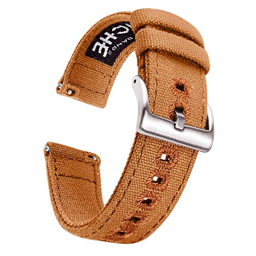 22mm Brown Canvas Quick Release Watch Bands Compatible with Seiko Watch Straps for Men Brown Rubber Strap Watch