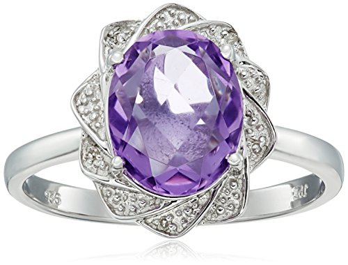 Sterling Silver Flower Halo Amethyst and Diamond Accent Ring, Size 7