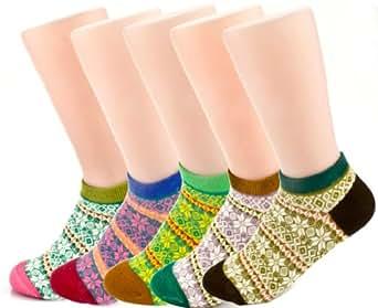 JiYe Womens Cotton No Show Socks Retro National Wind 5-Packs Anise Flower
