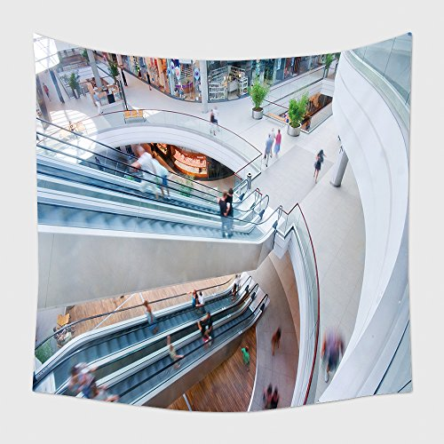 Home Decor Tapestry Wall Hanging Modern Shopping Mall People In Rush for Bedroom Living Room - Mall Shopping Delaware